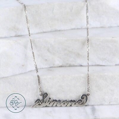 "Sterling Silver | ITALY 2mm Figaro Chain Simone Name 10.4g | Necklace (19.5"")"