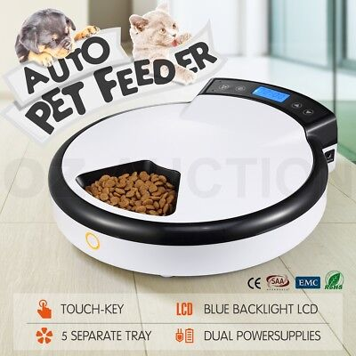 Digital 1.2L Automatic Pet Feeder Dog Cat Bowl Food Dispenser LCD 5 Meals White