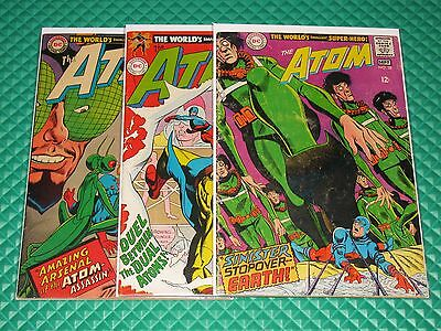 The Atom Lot of 3 #33,35,38 Higher Mid-Grade Silver DC Golden Age Atom JLA