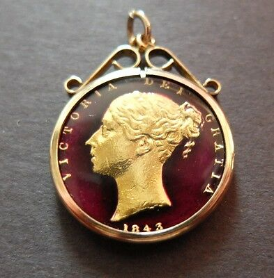 Ornate Vintage 1843 Enameled Great Britain Farthing In Gold? Bezel, Lot #91