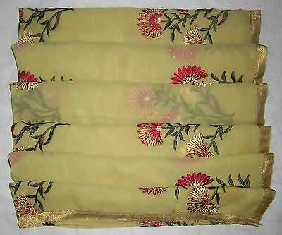 Antique Vintage Dupatta Scarf Stole WEARABLE EMBROIDERED Ta D414 Yellow #ABLO1