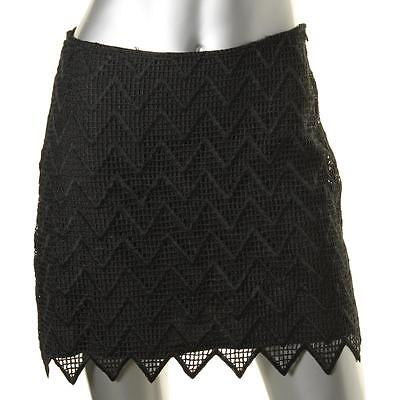 Aqua 1050 Womens Black Lined Zig Zag Pattern Mini A-Line Skirt S BHFO