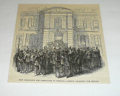 1878 magazine engraving ~ CROWD WAITING TO VOTE FOR FRENCH ELECTION