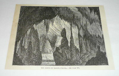 1878 magazine engraving ~ THE GROTTO OF BRANDO, CORSICA