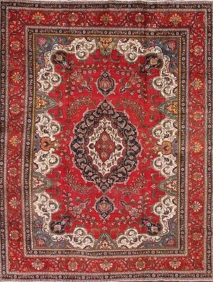 Antique Geometric Hand Knotted Red 10x13 Tabriz Persian Oriental Area Rug Wool