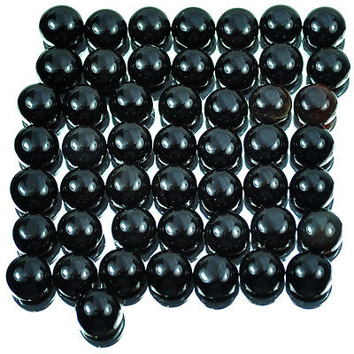 162.50 Ct/50 Pcs Natural Untreated African Round Cab Black Onyx Gems For Jewelry