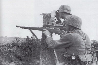 B&W Photo German Sniper Team  Mauser 98 WWII WW2 World War Two Wehrmacht Germany