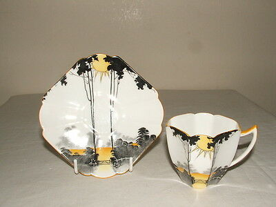 Shelley Art Deco Queen Anne Sunrise & Tall Trees Coffee Cup & Saucer  Stunning