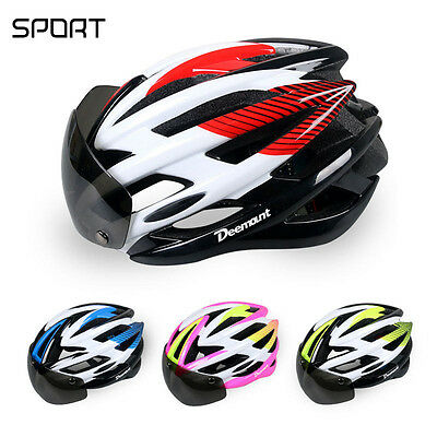 MTB Bicycle Helmet Bike Cycling Adult Unisex Safety Magnetic Goggles Glasses Len