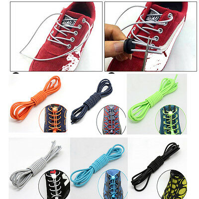 HOT Elastic No-Tie Locking Shoelaces Sneaker Sport Shoe Laces With Buckles