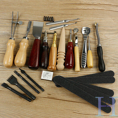 18pcs Leather Punch Tools Kit Craft Stitching Carving Sewing Saddle Groover kit
