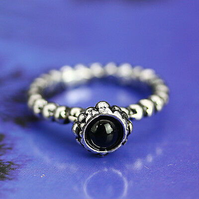 Women's Vintage Antique Silver Black Agate Ring Jewelry US SZ 6.5 New