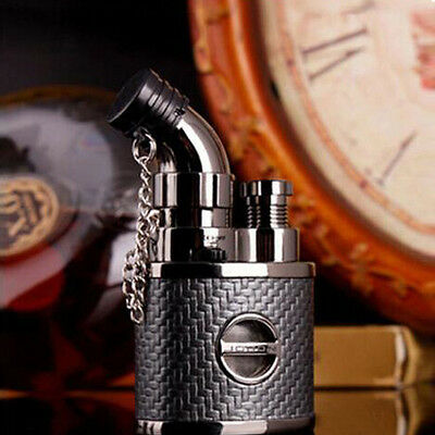 Leather Torch Flame Cigarette Lighter Jet Butane Gas Cigar Lighter With Lock