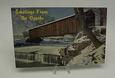 Vtg Postcard Greetings From The Ozaks Old Covered Bridge  A-39
