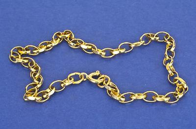 "A SOLID 10"" 9ct YELLOW GOLD OVAL DIAMOND CUT FANCY BELCHER ANKLET CHAIN"
