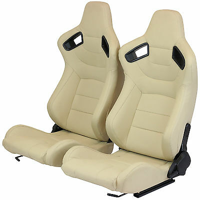 Pair Of Cream Pvc Leather Fully Reclining Bucket Car Seats Sports Racing Seat