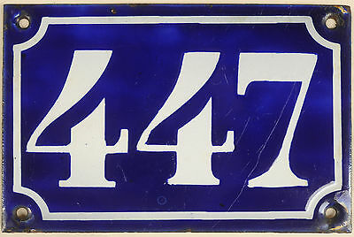 Old blue French house number 447 door gate plate plaque enamel metal sign c1900
