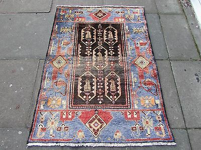 Old Traditional Persian Rug Wool Blue Oriental Hand Made Small Rug 140x100cm