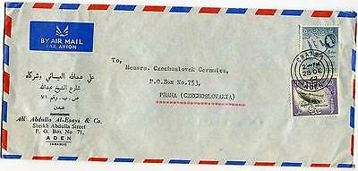 Aden Crater Kraytar Dec,28 1962 Airmail Cover Overseas to Czechoslovakia