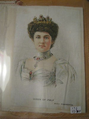 Great War WW1 Large Silk Cigarette Card - Queen of Italy (BDV Cigarettes)