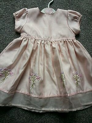 M&s  Baby  Girls Pink Party  Dress   Age 9/12 Mths