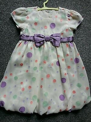 M&s  Baby  Girls  Cream Party  Dress   Age 9/12 Mths