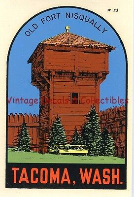 Vintage Tacoma Washington Old Fort Nisqually Souvenir Travel Water Decal Sticker