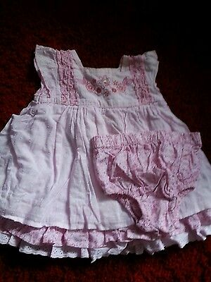Vintage    Baby  Girls  Pink  Dress & Knickers    Age 3/6   Mths