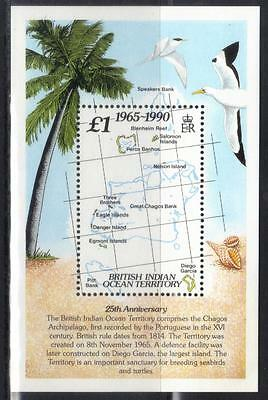 BR INDIAN OCEAN TERRITORY 1990 25th ANNIV OF TERRITORY U/M M/S CAT £9+