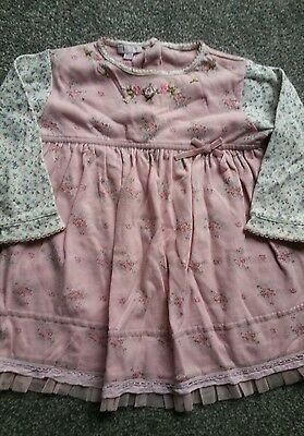 Monsoon    Girls  Pink Floral  Dress     Age 18/24Mths