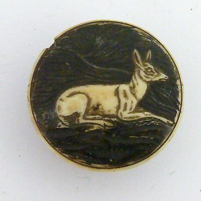 Antique Archery Bowstring Wax Box,  Bovine Bone Carved With A Deer On Cover