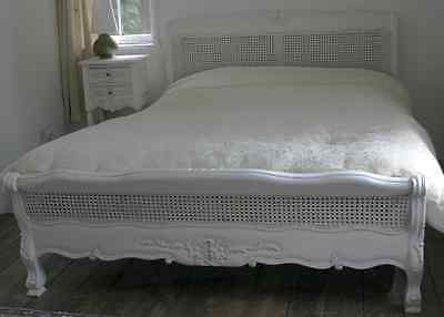 "Mahogany Louis Rattan 4' 6"" Double Low French Style Bed Antique White Brand New"