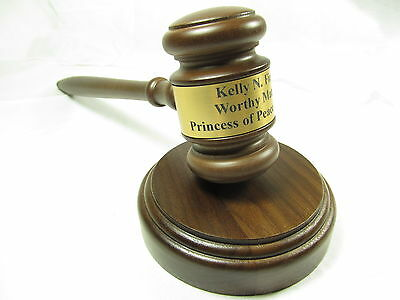 """Personalized Engraved 10.5"""" Wood Gavel w/ Sound Block"""