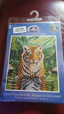 DMC Tiger Pool 16 Count Cross Stitch Kit, Multi-Colour new with  tags