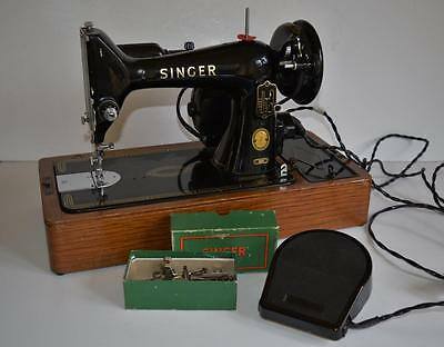 SUPERB VINTAGE SINGER 99K Heavy Duty ELECTRIC SEWING MACHINE with Case