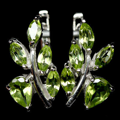 Excellent! Natural! Green Peridot Sterling 925 Silver Earrings White Gold Plated