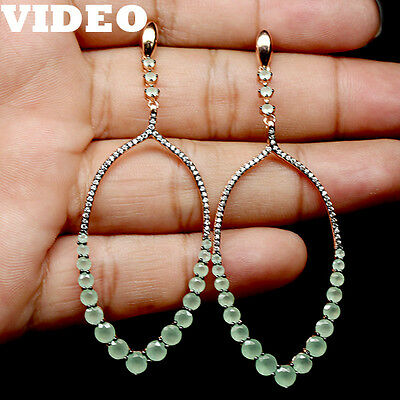 Miraculous! Natural! Green Onyx & White Cz Sterling 925 Silver Earrings