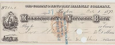 1872 Check printed Rev stamp ~ Old Colony & Newport Railway Mass Nat Bank $210