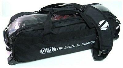 Vise 3 Ball Tote Bowling Bag with tow wheels Color Black
