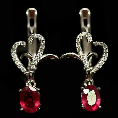 SUPERB! REAL! 5 X 7 mm. RED RUBY & WHITE CZ STERLING 925 SILVER EARRINGS