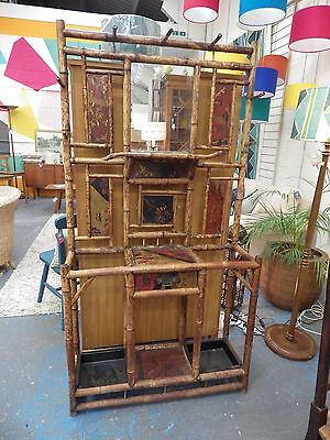 Antique Bamboo Oriental Mirrored Hall Stand w/ Coat Hooks & Umbrella/Stick Stand