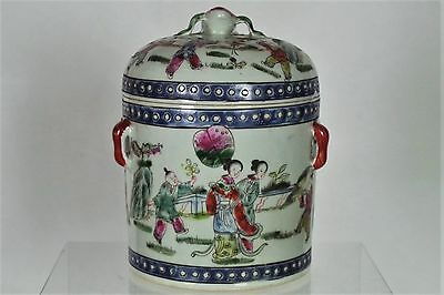 Beautiful Antique Chinese Hand-painted Lidded Pot - with mark