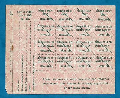 1918 Sheet Of Unused Wwi Invalids Meat Coupons - Scarce