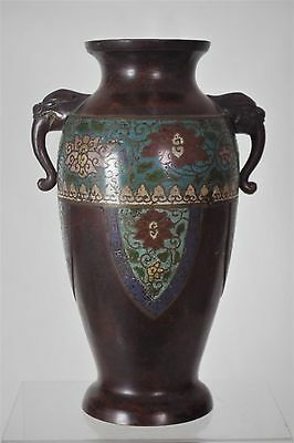 Superb Antique Japanese Bronze Cloisonné Vase  - with mark (1)