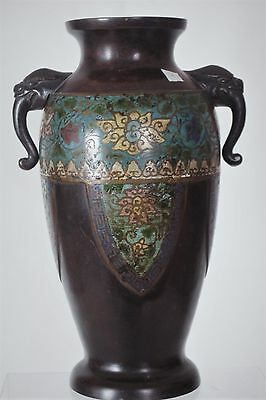 Superb Antique Japanese Bronze Cloisonné Vase  - with mark (2)