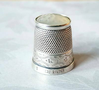 Antique Sterling Silver 1929 Hallmarked Agate Top Thimble