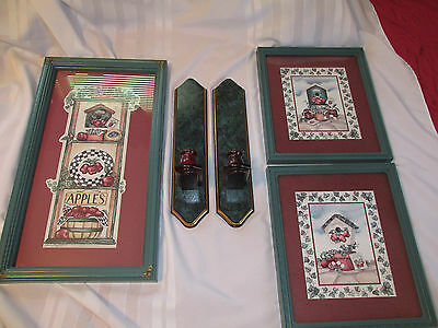 Home Interiors  Apple & Birdhouse 3 Pictures  2 Sconces Set