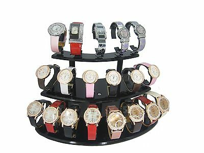 Black Acrylic 3 Layer Watch / Bracelet Display Stand For Collector Retail Shop