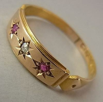 Antique Victorian (1880) 15Ct Gold, Ruby & Diamond Ring