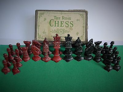 "Vintage 1941-2 Lead ""the Rose Chess""  Staunton Style Complete Original Boxed Set"